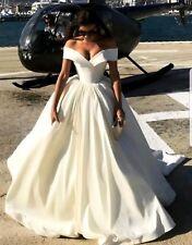 UK Beautiful Off Shoulder White/Ivory Satin A Line Wedding Dresses Size 6-22