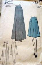 LOVELY VTG 1940s EVENING SKIRT ADVANCE Sewing Pattern WAIST 28