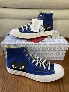 Converse Chuck Taylor All-Star 70s Hi Comme des Garcons PLAY Blue Mens Size 6
