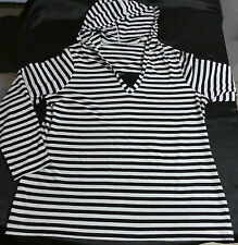 LADIES SIZE16 LS HOODED TOP BLACK WHITE STRIPE - AS NEW