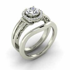 White Gold Bridal Engagement Wedding Ring 0.80 Carat Moissanite & Diamond 14K