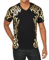 INC Mens T-Shirts Black Gold Size Small S V Neck Metallic Printed $29 047