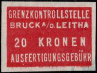AUTRICHE / AUSTRIA / ÖSTERREICH - BRÜCK A/D LEITHA 20Kr Customs Revenue Stamp