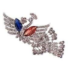 USA Barrette Clip using Swarovski Crystal Hairpin Vintage Peacock Blue Brown