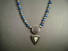 Carolyn Pollack Relios Sterling Silver Lapis MOP Beaded Necklace Pendant  #AC464