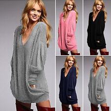 Damen Longshirt Bluse Pullover Langarm Top Casual T Shirt Oversize Hemd Oberteil