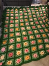 VTG Hand Knit Flower Power Throw Bed Blanket Granny Afghan Retro Hippie 102""