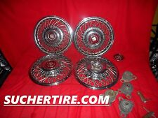 """CADILLAC 15"""" OEM ORIGINAL WHEEL COVER HUBCAP SET (4) WITH BRACKETS AND KEYS"""