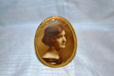 Antique Metal Frame Young Lady Photo Early 1930 Sepia