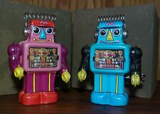 GREAT PAIR, SANKO / JAPAN, TIN WIND UP, PIN WALKING ROBOTS - WORK GREAT & HTF