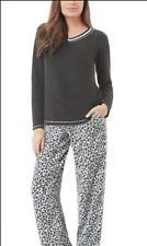 Aria Collection Womens 2 Piece Stretch Microfleece Pajama Set, Black Animal, XL