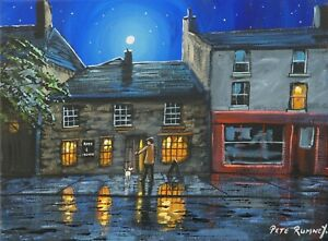Pete Rumney Art Hand Painted Rose And Crown Hay On Wye Moon Stars Wales Quirky