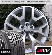 22 inch Wheels and Tires for Chevy Silverado Replica 5656 Silver Machined Rims