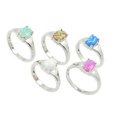 Plated Silver Ring Colorful Opal Oval Shape Four Prong Fashion Jewelry 6/7/8/9