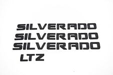 4 x Matte Black SILVERADO Nameplate Emblem Badges 3D Letter GM Chevrolet LTZ