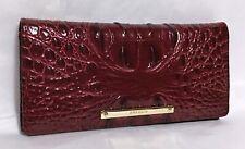 Brahmin Melbourne ADY Slim Bifold Leather Wallet Clutch CRANBERRY Red Wine NWT