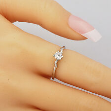 Womens stainless steel ring Clear Cubic Zirconia White Gold Filled Rings Size 7
