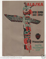Saloon Passenger List 1920 SS Princess Alice TOTEM POLE Canadian Pacific Railway