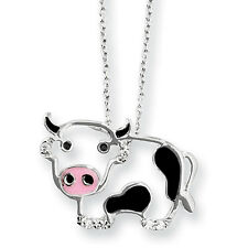 Cheryl M 925 Sterling Silver Clear CZ Enameled Cow Pendant Necklace 18""
