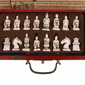 Wooden Antique Chinese Chess Folding Board Game Carved Warrior Collectible Set