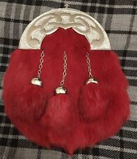 Men's Full Dress Sporran Red Rabbit Fur/Kilt Sporrans Celtic Cantle/kilt Sporran