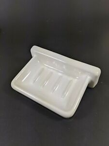 Vintage White Glazed Ceramic Soap Dish Wall Mount Art Deco Mid Century Heavy