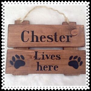 rustic wood sign plaque pet dog gift house sign