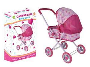 Passeggino carrozzina per bambole Baby Love giocattolo per bambina bimba rosa 3+