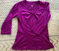 Nike 3/4 Sleeves Women's Long Sleeve V Neck Fitted Tennis Top Shirt Size M