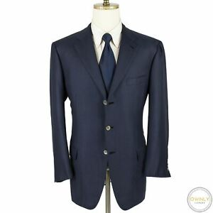 LNWOT CURRENT Brioni Blue Blue Silk Wool Houndstooth MOP Vented Jacket 44R