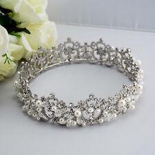 Bride Rhinestone Pearl Crystal Tiara Wedding Bridal Round Crown Jewelry 1367 Hot