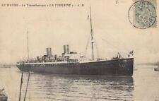 CGT FRENCH LINE SS LA TOURAINE Postcard at Le Havre