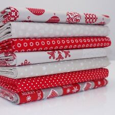 FQ Bundle - French Classic Christmas - Red and Taupe x 7 - Cotton Fabric Patchwo