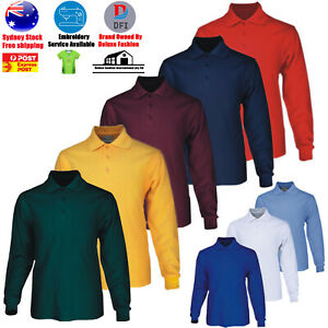 Men's Long Sleeve Basic Polo Loose Pocket Plain Polo Shirt Casual Polo Sun