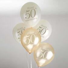 Vintage Romance 50th Wedding Anniversary Balloons Ivory/Gold