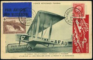 BELGIUM 1930 Brussels to London First Night Flight Airmail Postal Card EUROPE