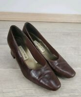 WOMENS BROWN LEATHER NORDSTROM PUMPS CAREER COMFORT HIGH HEELS SHOES SIZE 8.5 M