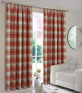 "Shetland Terracotta 90"" x 90"" Pencil Pleat Pair Of Tartan Checked Curtains"