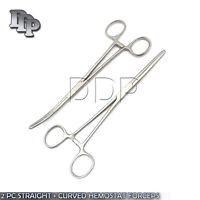 """2 PC SET 6"""" STRAIGHT + CURVED HEMOSTAT FORCEPS LOCKING CLAMPS Surgical Instru"""