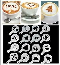 16pc Coffee Machine Barista Stencils Template Strew Flowers Pad Duster Spray Art