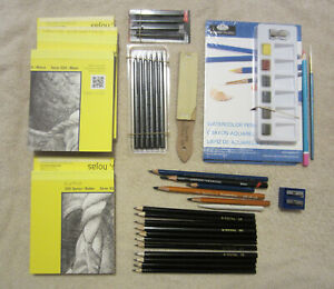 Lot Sketching Drawing Painting Supplies Graphite Charcoal Pencils, Woodless etc