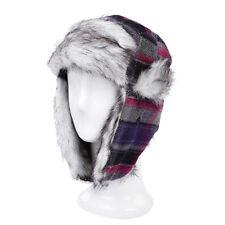 Warm Winter Plaid Faux Fur Trapper Ski Snowboard Hunter Hat - Diff Colors