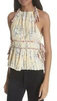 "NWT Women's Rebecca Taylor Sleeveless ""Lemon Rose"" Floral Pleat Blouse Top Sz 12"