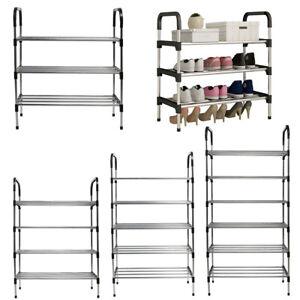 3/4/5/6 Tier Metal Tall Shoe Rack Stand Storage Organiser Footwear Shelf Display