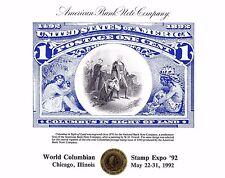 ABNC Souvenir Card SO89 WCSE '92 #230 1c Columbus in Sight of Land Mint