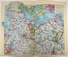 Original 1928 Map of Mecklenburg & Schlesweig-Holstein, Germany by Meyers