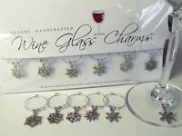 SNOWFLAKE WINE GLASS CHARMS Christmas Table Decorations or Winter Wedding Favour