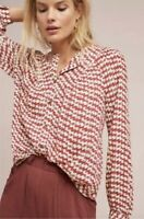 Maeve by Anthropologie Sz S Houndstooth Print Button Up Shirt Peasant Top Blouse