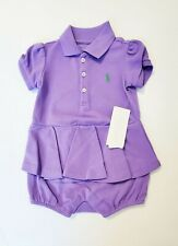 Ralph Lauren Baby Girls Peplum Cotton Bubble Shortall Hampton Purple Sz 18M-NWT