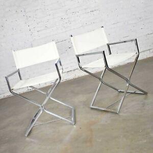 MCM Style Directors Chairs White Chrome Attr Robert Kjer Jakobsen & Virtue Bros.
